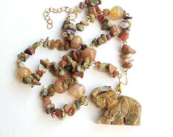 Elephant pendant unique gemstone chain necklace agate beads jade beads beadwork gemstone gift for her gemstone gift for her  gift citrine
