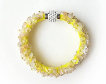 Sun stone bracelet quartz gemstones magnetic bracelet beaded yellow exclusive handmade high quality gift for her, gemstones bracelet gift