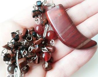Red carved horn locket gemstone chain necklace red gemstone horn jewelry red jasper horn pendant red jasper chain red black carved