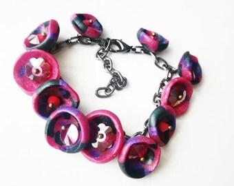 Fuchsia red purple polymer clay bracelet exclusive handmade jewelry unique black gift for her Mom big beads boho beadwork beaded glamor cuff