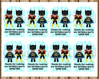 INSTANT DOWNLOAD- Superhero Birthday Gift Tags- Batgirl Gift Tags- Batman Gift Tags- Treat Bag Tags- 8.5 x 11 size- Print Your Own-Digital