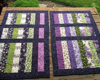 Six Quilted Placemats Purple Green Modern Floral Picnic Table Mats Summer Mothers Day Kitchen Home Gift, Gift for Gardener, Fabric Placemats