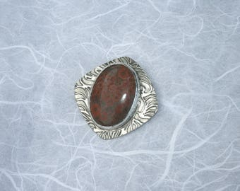 Sterling Silver and poppy jasper pendant
