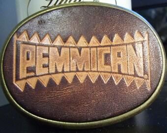 Vintage 1970's PEMMICAN Leather & Brass Belt Buckle El Cid