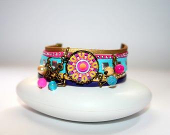 Bracelet Mandala adult psychedelic purple, yellow, fuchsia and turquoise