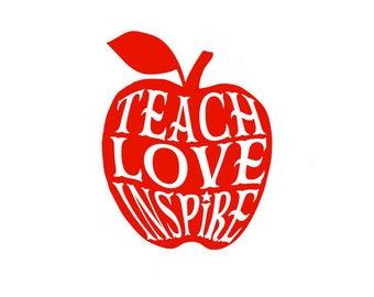 Teach Love Inspire Apple for Teacher Decal