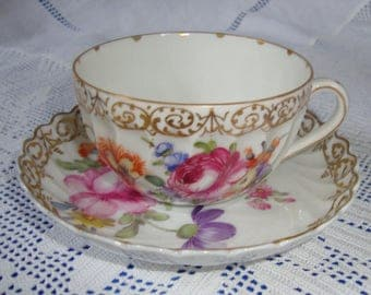 Antique Dresden Hand Painted Cup And Saucer