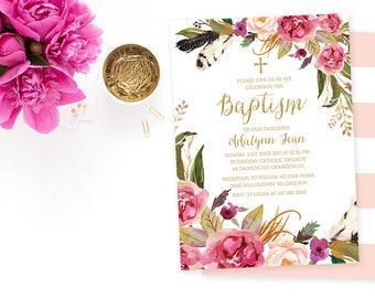 Floral Baptism Invitation, Pink Gold Baptism Invitation, Gold Glitter Baptism Invitation Printable, Girl Baptism Invite, Girl Christening