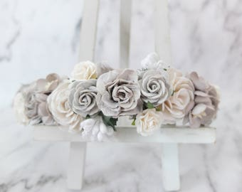 Gray white wedding flower crown - head wreath - bridesmaid hair accessories - flower girls - bridal floral headpiece