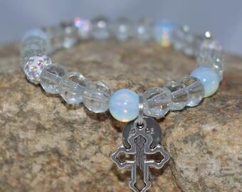 Cross Bracelet, Moonstone, Pave, Religious Bracelet, Easter Bracelet, Clear Crystal, Angel Wing, Hope, Gift for her, Inspirational Gift, 7.5