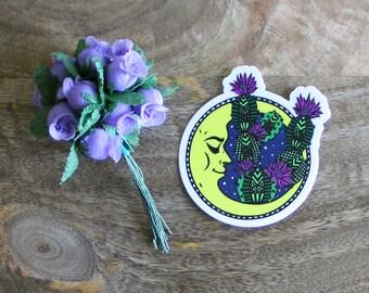 Moon Cactus Sticker, Moon, Cactus, Succulents, Plants, Nature, Stickers, Vinyl Sticker, Die-cut Sticker