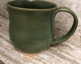 Green Handmade Pottery Mug