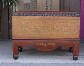 Early 20th Century Italian Marquetry Coffer On Stand,  Italian Box, Vintage Storage Chest,  Antique Trunk, Inlaid End of Bed Chest