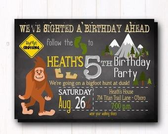 Bigfoot Birthday Party Invitation - Big Foot Invite - Sasquatch - Yeti Monster - Boys Birthday - Scavenger Hunt  - Camp Out