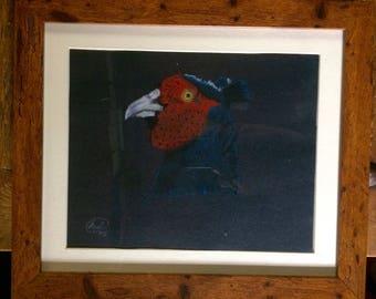 Framed Original Pheasant Pastel Sketch