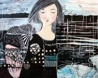 Artwork original painting with acrylics - Geisha in the rain no. 4-