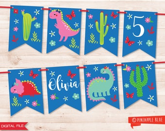 Girls dinosaur party bunting | Jungle party bunting | Dinosaur garland | Printable party bunting | DIY party garland