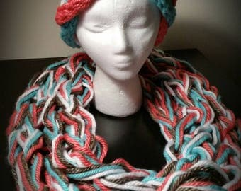 Arm Knitted Colorful Stylish Scarf Set