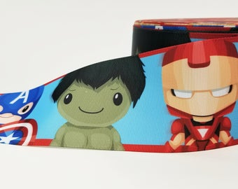 "3"" inch Super Hero Theme  - Printed Grosgrain Ribbon for 3 inch Cheer Hair Bow"