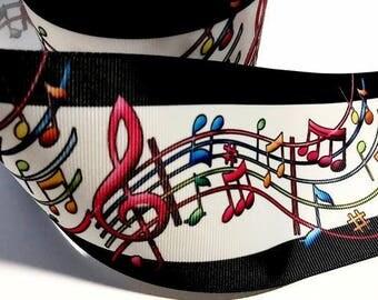 "3 inch MUSIC NOTES  Printed Grosgrain Ribbon Cheer Hair Bow - 3"""
