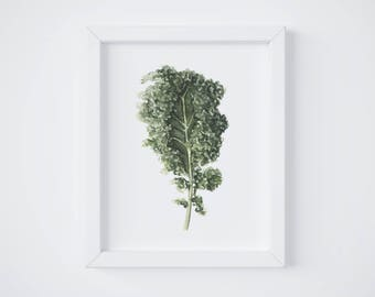 Kale Print - Kale painting - vegetable painting - Green Kale watercolor - home decor painting - kitchen art - dining room art - food art