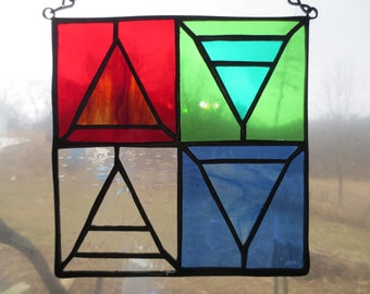 Elements Earth Air Water Fire Wicca Pagan Witchy Stained Glass Suncatcher