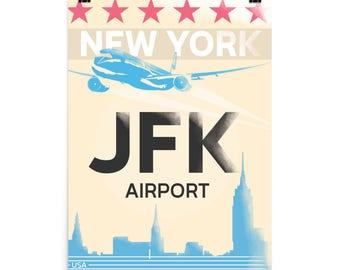 JFK airport Poster USA traveller airports