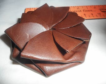 Brown Genuine Leather Handmade Petal Pull Squeeze Coin Purse