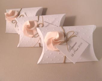 Box dragees wedding rustic + pink origami pale pink - thank you gift birthday guests, baptism, wedding