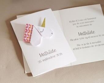 Birth announcement - baptism origami Unicorn - custom handmade high end