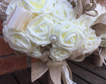Ivory rose and rustic hessian bouquet