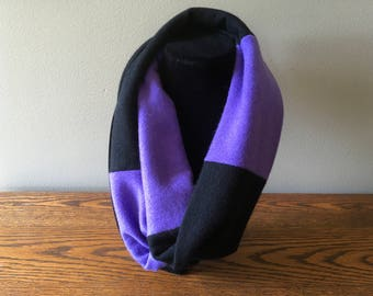 Upcycled cashmere infinity scarf #45. Felted black and purple infinity scarf.