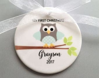 My first Christmas Ornament, My first Christmas, Owl Ornament, Baby Ornaments, Baby Boy Ornaments, Boy Ornaments, Personalized Gift