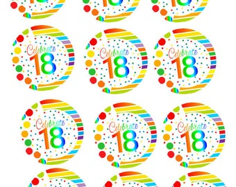 Item#RE3-018 Happy 18th Birthday 3inch Rainbow Edible Cupcake / Cookie Frosting Image Toppers -12ct