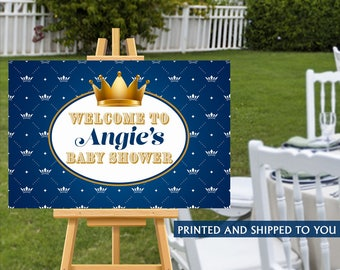 Royal Baby Shower Welcome Sign, Welcome to the Party Sign, Baby Shower Welcome Sign, Personalized Little Prince Foam Board Sign, Custom Sign