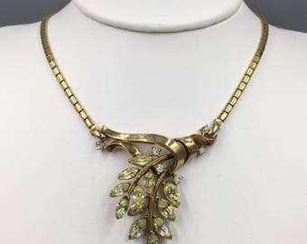 "Trifari Gold Rhinestone Choker Necklace - Vintage 1952 Alfred Phillippe ""Spring Fantasy"" Book Piece"