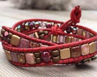 Beaded Red Leather Wrap Around Bracelet