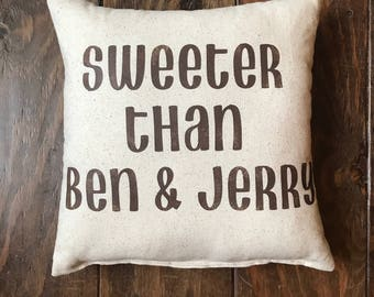 Sweeter Than Ben & Jerry, Hip Hop Quote, Q-Tip Quote Pillow, Tribe Called Quest Quote, 90's Hip Hop Pillow, Old School Hip Hop Pillow