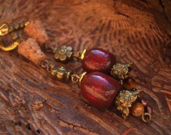 Boho earrings, Bohemian earrings, boho style, gypsy style, gemstone earrings, tigers eye stone earrings, wicca earrings - Rose Hips Wine