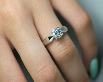 1.00 CT D-F/VVS1 Ladies Round Cut Moissanite Diamond Engagement Ring 14K White Gold