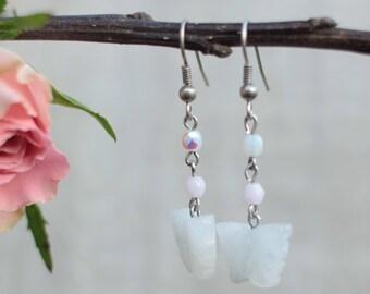 Boucle d'oreille vintage papillon en quartz rose