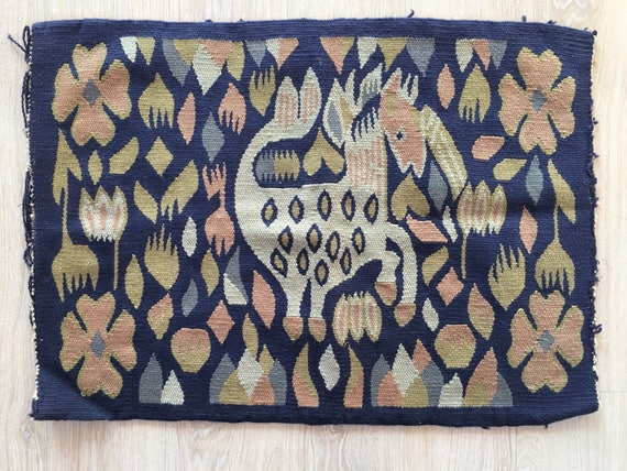 Vintage traditional Swedish woven embroidery textile of Horse, flowers and shapes