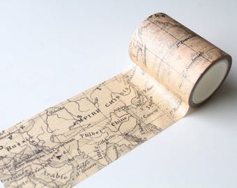 Map Washi Tape/ Wide Vintage Map Planner/ Travel Scrapbooking/ Mixed Media Deco Tape