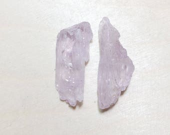 Raw light pink kunzite crystals, rough kunzite lot 4 pieces // B*3218