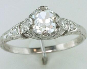 Vintage Antique Victorian .94CT Old Mine Cut Diamond Platinum Engagement Ring