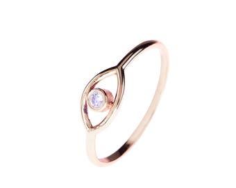 Mystic Eye Ring White Topaz