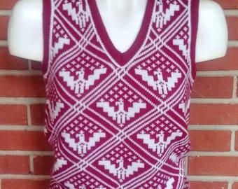 1970's Sweater Vest Bobbie Brooks Burgundy Phoenix Eagles Design XS-S