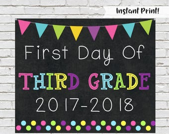 First Day of Third Grade Sign, First Day Of School, Photo Prop, Chalkboard Sign, Third Grade Sign,  Back to School, 1st Day Of School,