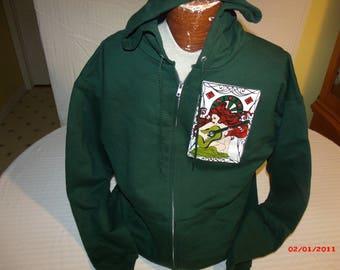 """Grateful Dead Hoodie """"Loser"""" zip up Sweatshirt in Forest Green."""