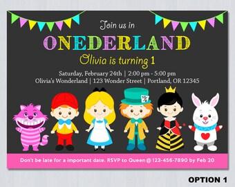 Alice in Onederland Invitation, Alice in Wonderland Invitation, Alice In Wonderland Birthday Invitation, Alice Wonderland invitation